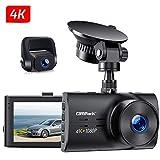 Campark Dual Echte 4K Dashcam vorne und Hinten, 3' Autokamera mit Bewegungserkennung, Parküberwachung, Loopfunktion, G-Sensor, Dual 150°Weitwinkelobjektiv und WDR Nachtsicht, Unterstützt 256GB