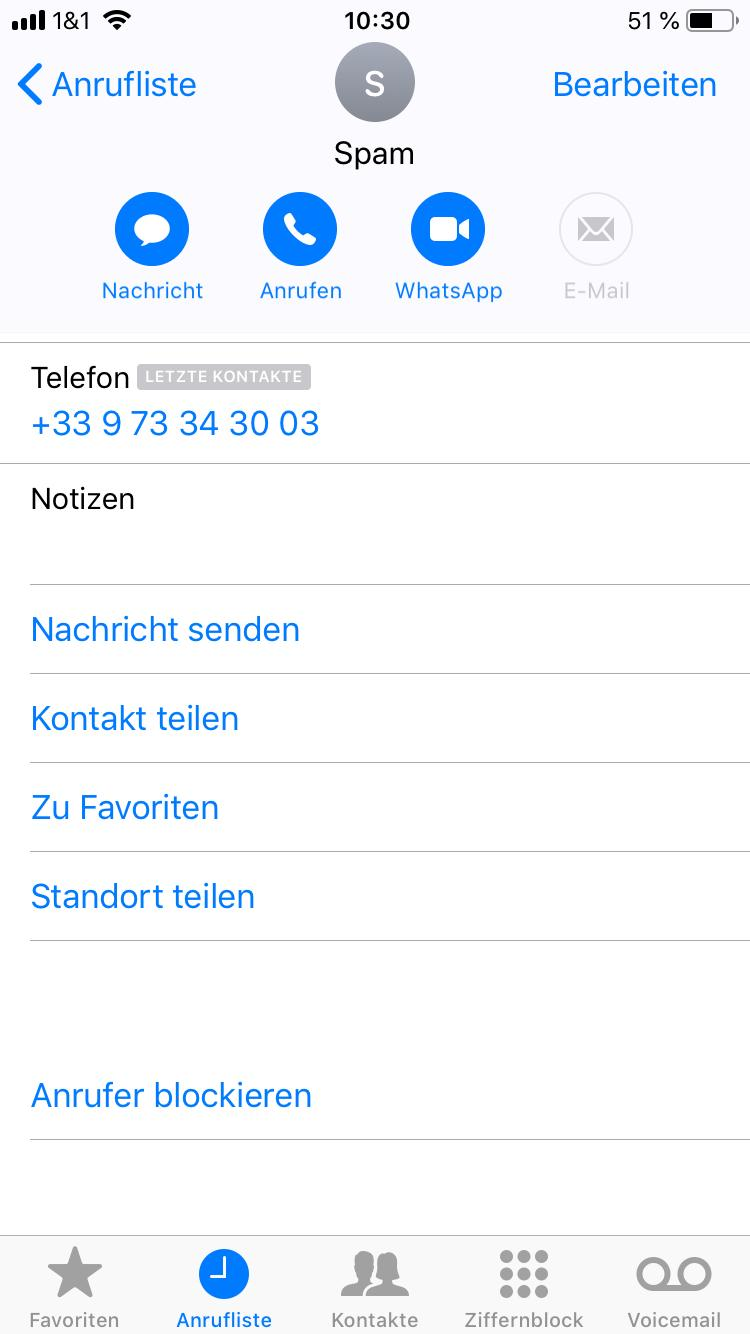 Spam Rufnummer unter iOS blockieren
