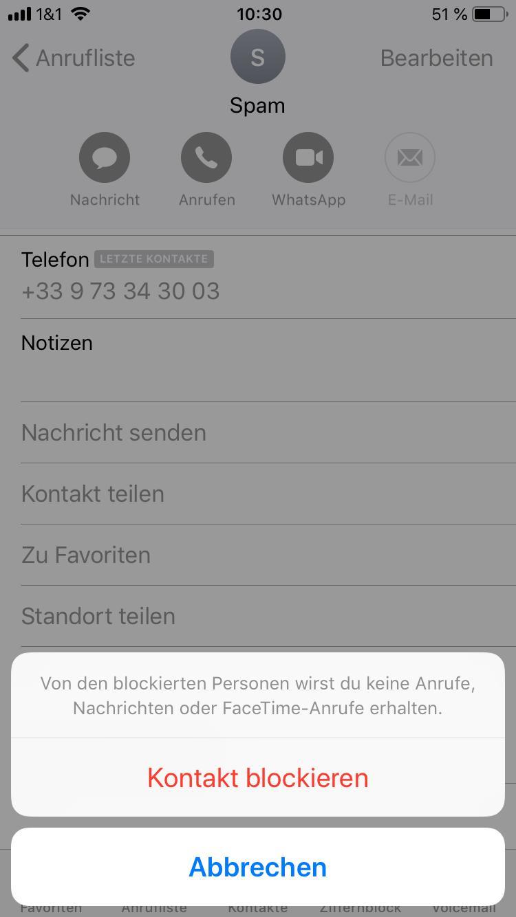 Rufnummer am iPhone sperren