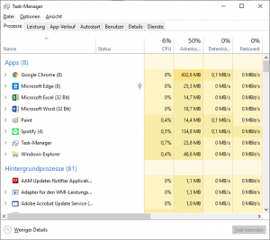 Task Manager unter Windows 10