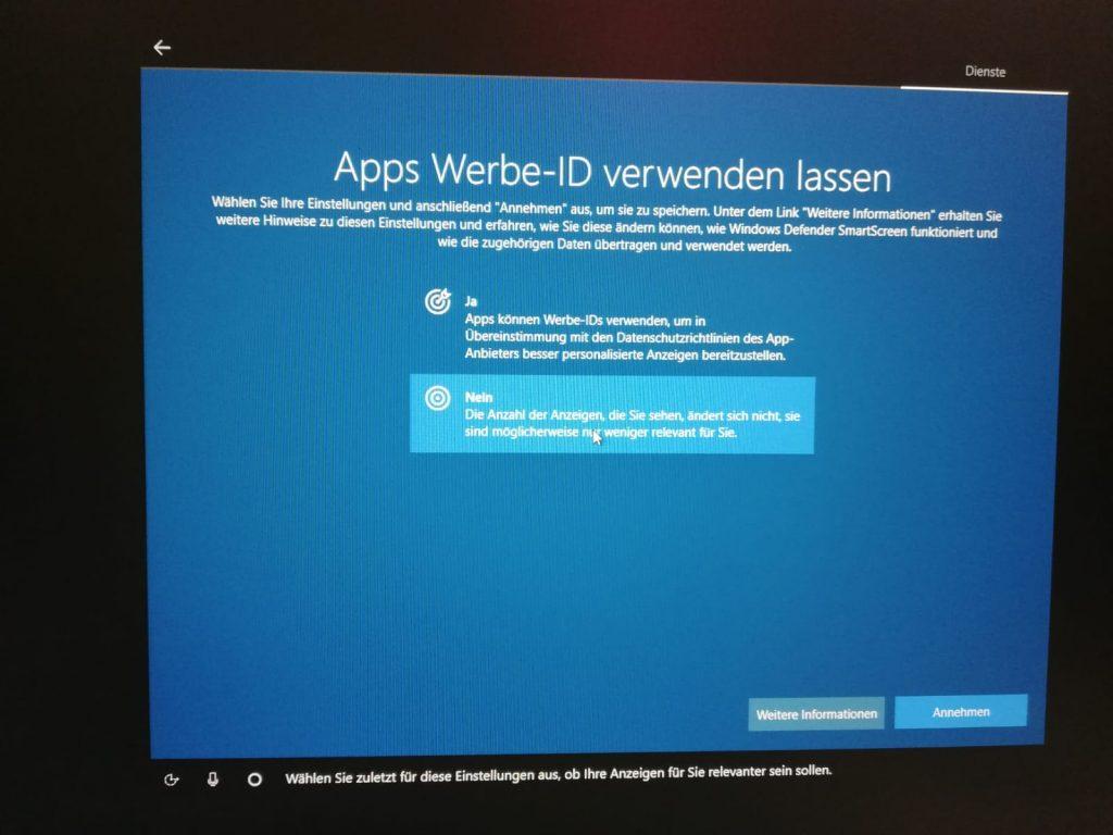 Werbe-ID bei Windows 10 entfernen