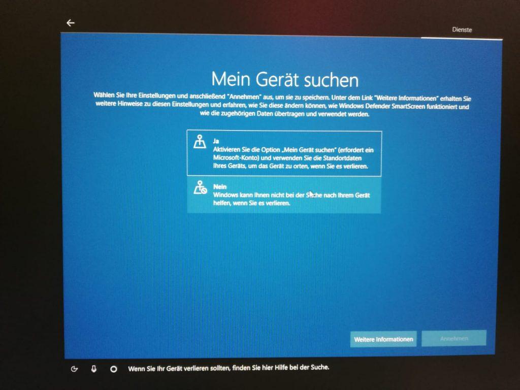 Mein Gerät suchen unter Windows 10