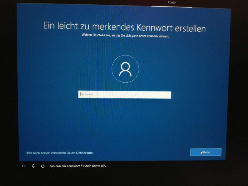 Kennwort für Windows 10 festlegen