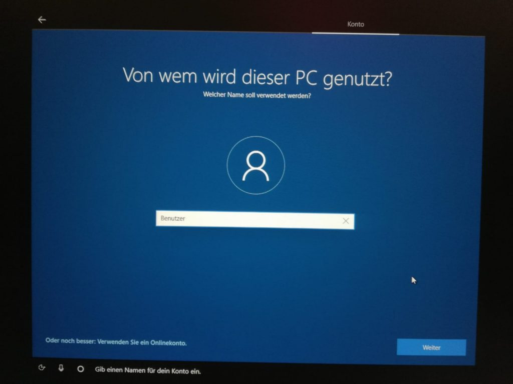 Benutzernamen für Windows 10 festlegen
