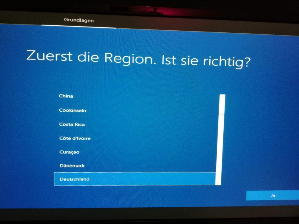 Windows 10 Region und Tastaturlayout auswählen