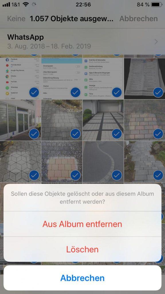 Foto-Album am iPhone löschen