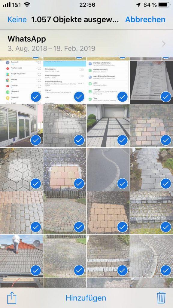 alle fotos auf einmal von iphone löschen