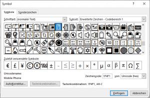 Handy Symbol in Word einfügen