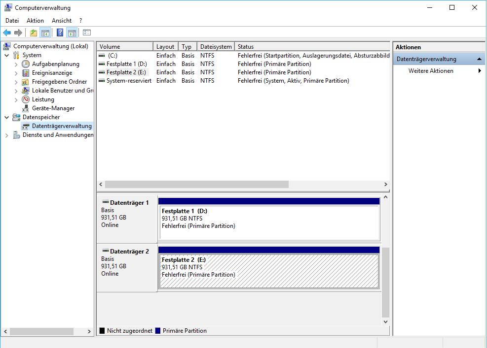 Neue Festplatte wird nicht erkannt / angezeigt: Windows 10