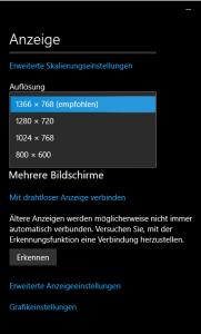 Windows 10 Bildschirmauflösung ändern