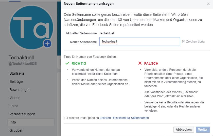 facebook-seitenname-aendern