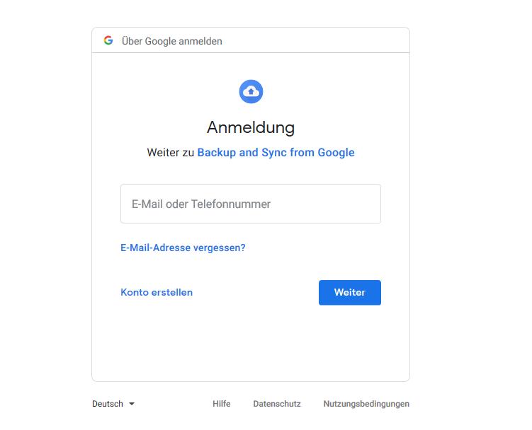 Anmeldung Google Drive