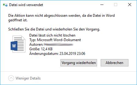 Datei lässt sich nicht löschen Windows 10