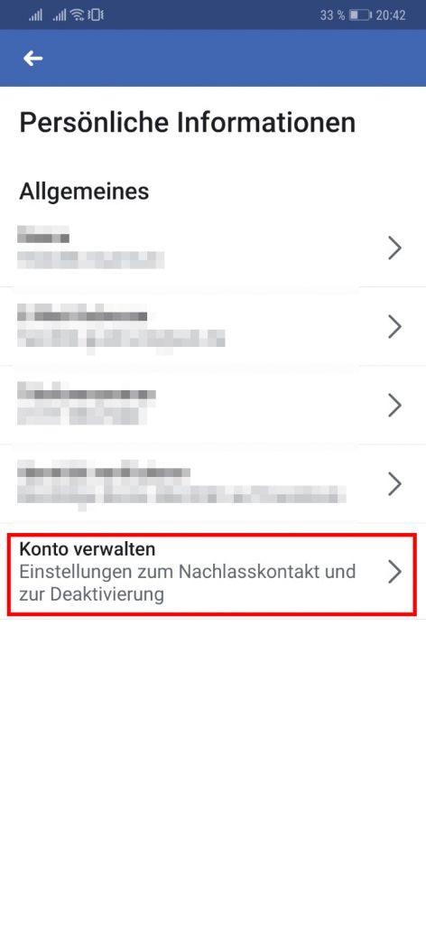Facebook App Nachlasskontakt hinzufügen oder ändern