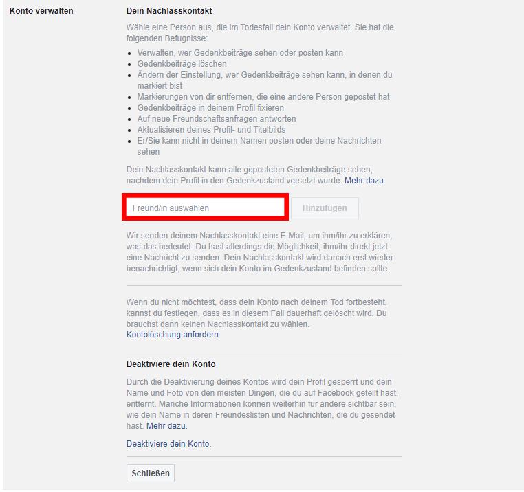 Facebook Konto verwalten Nachlasskontakt