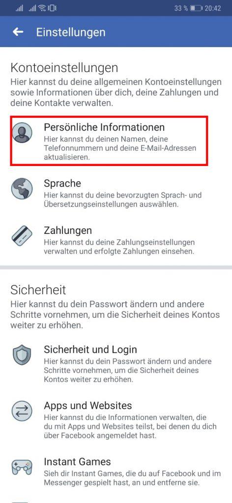 Facebook Nachlasskontakt hinzufügen oder entfernen