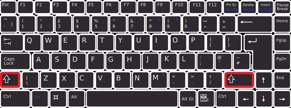 Wo ist die Umschalttaste auf der Tastatur