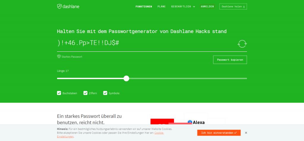 Passwort Generator - Online-Tool von dashlane
