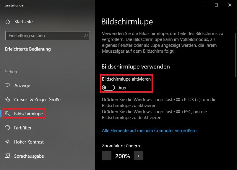 Windows 10: Bildschirmlupe aktivieren