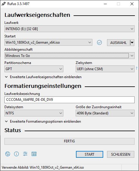 Windows auf USB-Stick installieren - Rufus Einstellungen