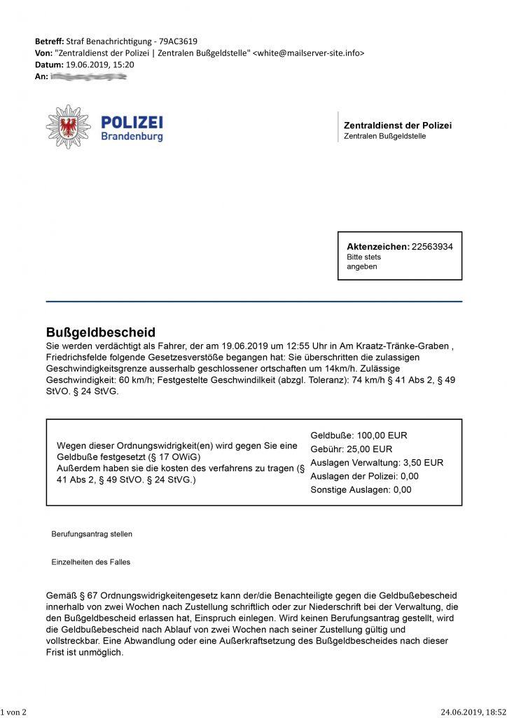 Straf Benachrichtigung - 79AC3619 - Fake E-Mail Zentraldienst der Polizei Brandenburg | Zentralen Bußgeldstelle