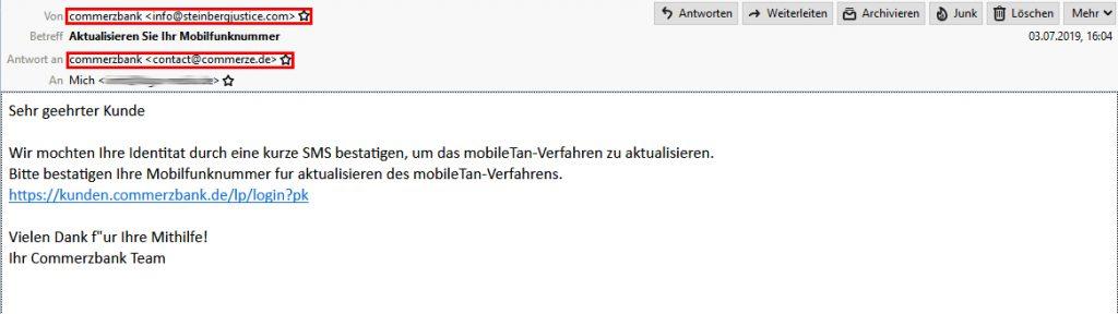 Phishing: Falsche Commerzbank E-Mail im Umlauf