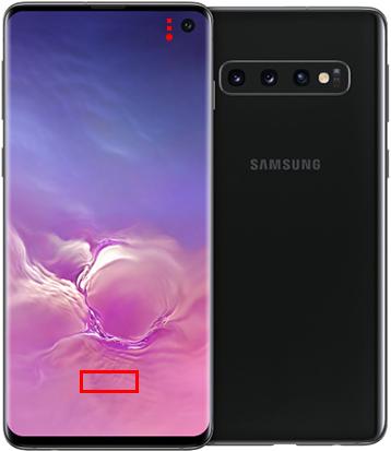 Fingerabdruck- und andere Sensoren unter Samsung Galaxy S10 Display sichtbar: Rechtecke oder Kreise unter Display