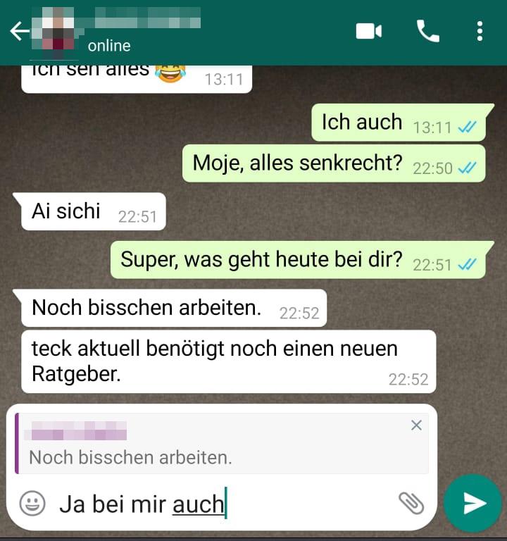 WhatsApp Text zitieren und auf Nachrichten antworten