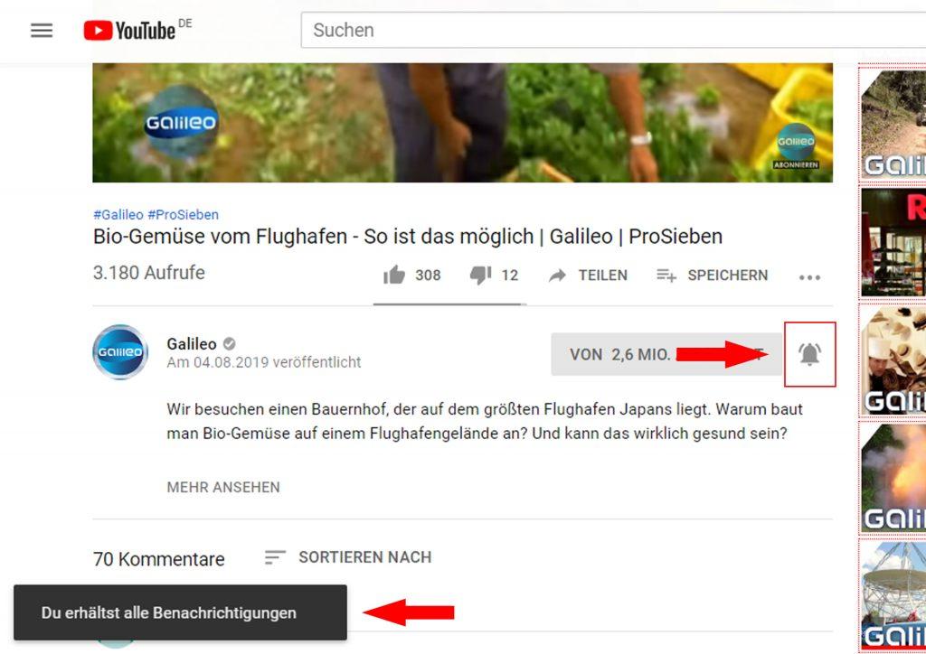 Benachrichtigung von neuen YouTube Videos erhalten bei Abo