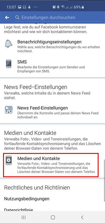 Facebook Medien und Kontakte Einstellungen