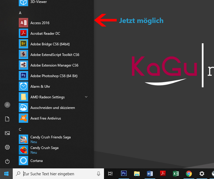 Menü schmäler machen Windows 10