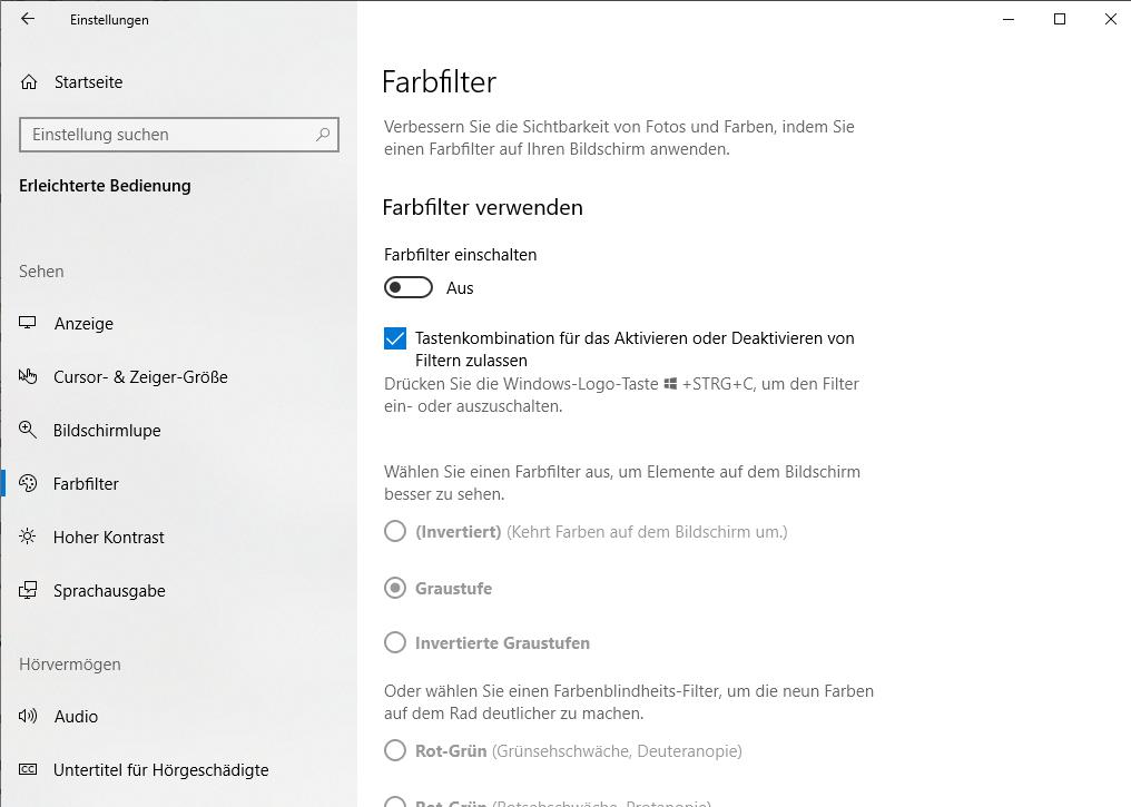 Nur noch schwarz-weißes Bild am PC - Graustufen-Farbfilter unter Windows 10