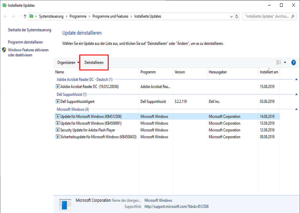 Update für Windows rückgängig machen