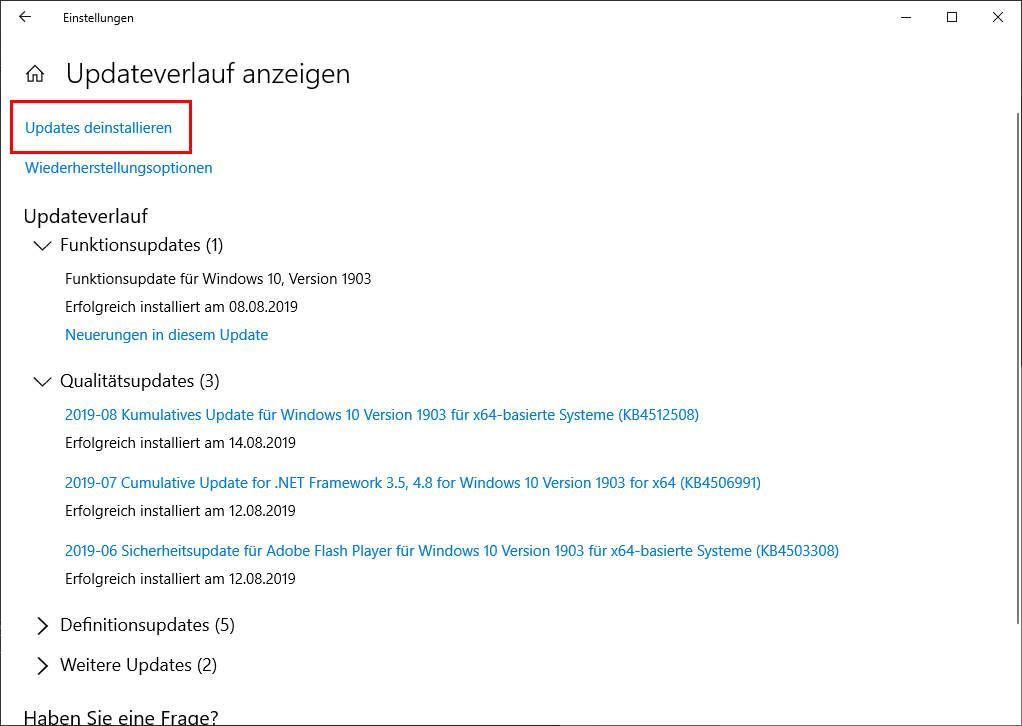 Windows 10 Updates deinstallieren