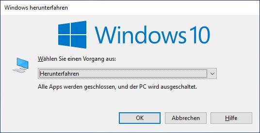 Windows alternativ neu starten oder herunterfahren