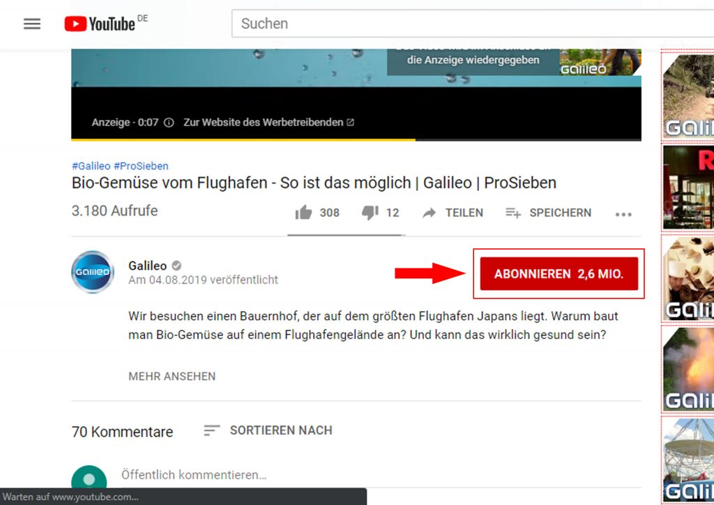 YouTube Kanal abonnieren - so geht´s