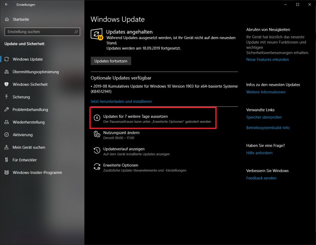 Updates unter Windows pausieren