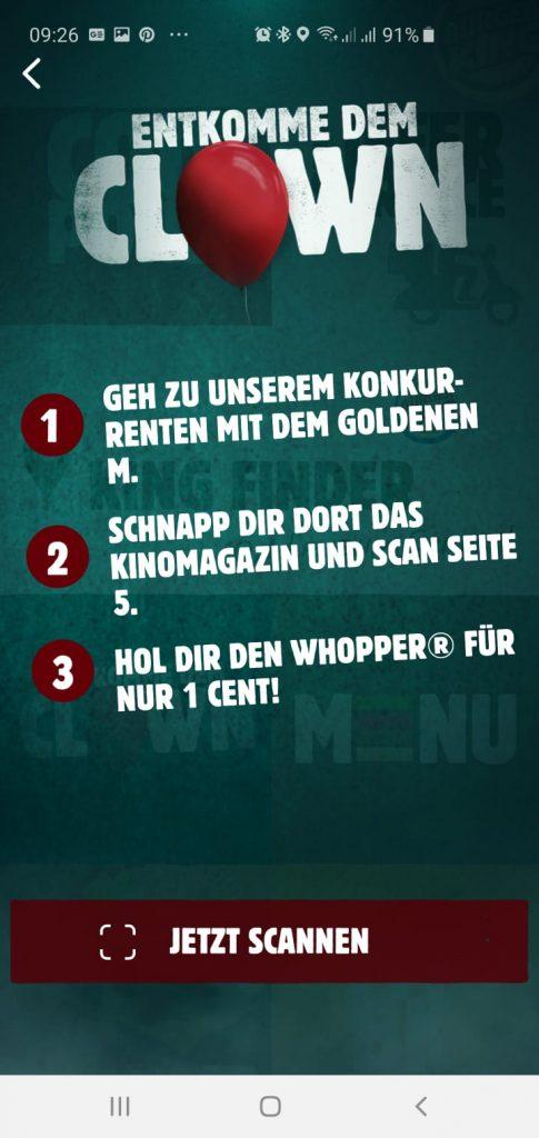 MC Donalds Kino Magazin scannen und Whopper für 1 Cent abstauben