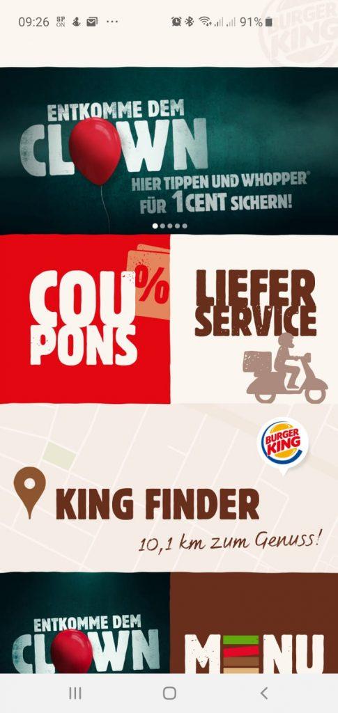 Entkomme dem Clown: Aktion von Burger King