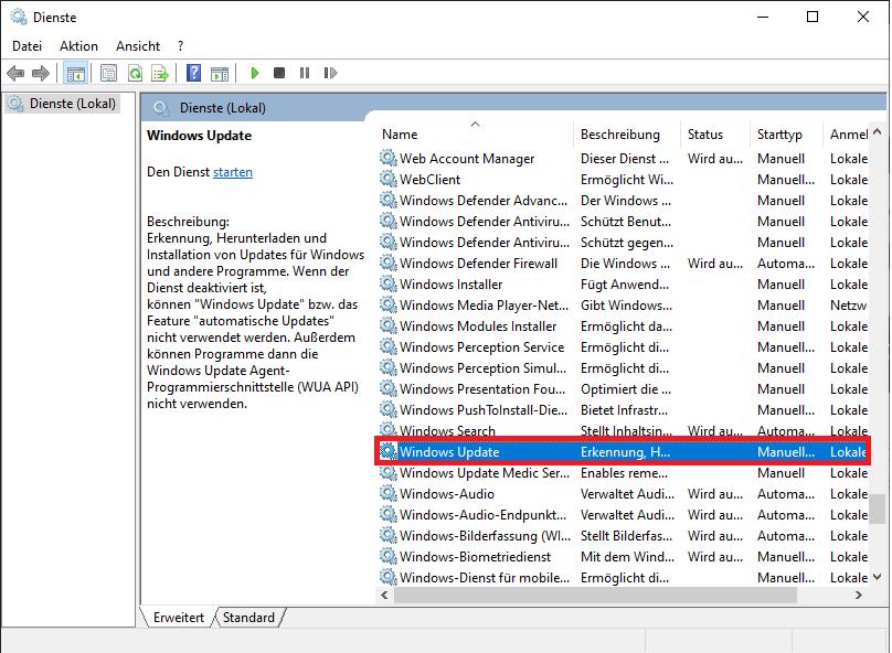 Windows Update Dienst deaktivieren