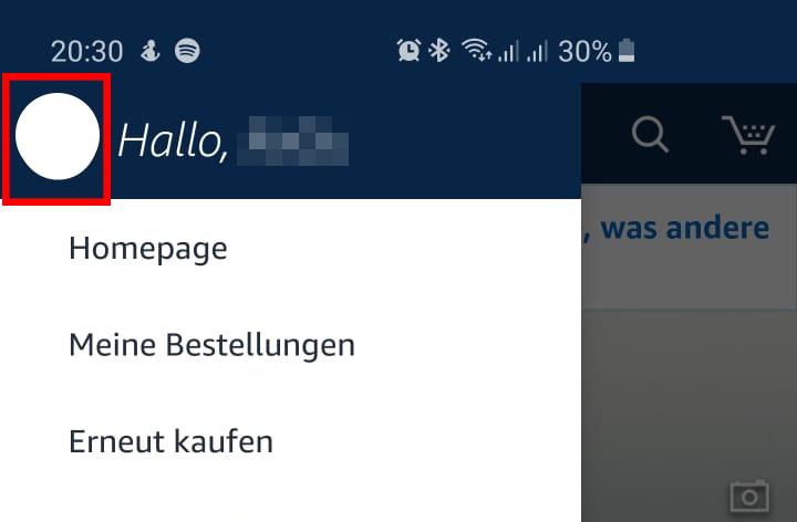 Amazon Profil am Smartphone öffnen