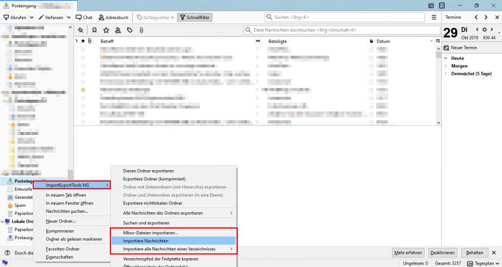 E-Mails in Thunderbird Postfach importieren