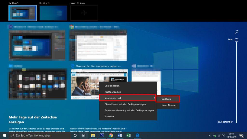 Fenster verschieben oder auf allen Desktops anzeigen lassen