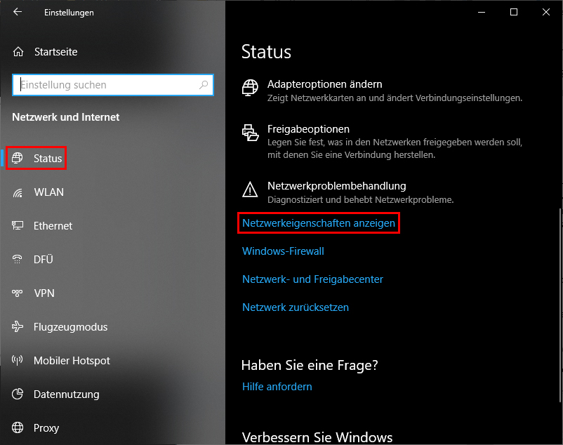 IP-Adresse in den Windows-Einstellungen finden