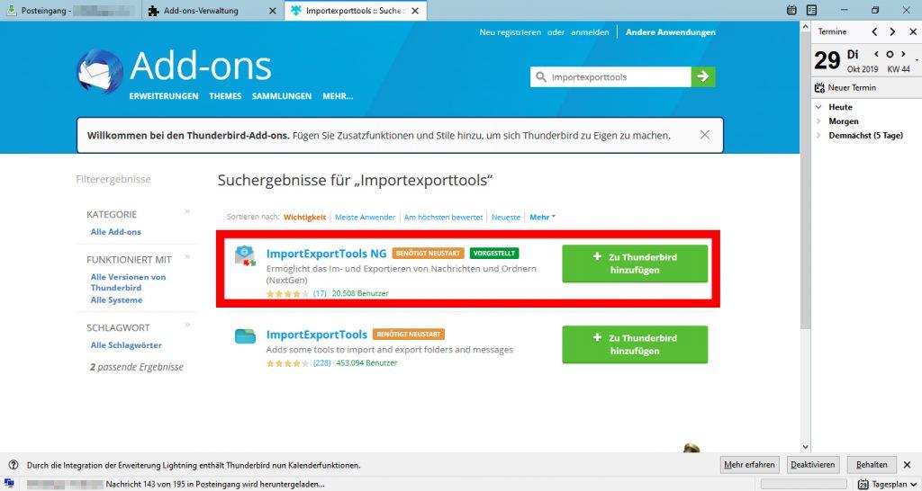 ImportExportTools NG für Mozilla Thunderbird