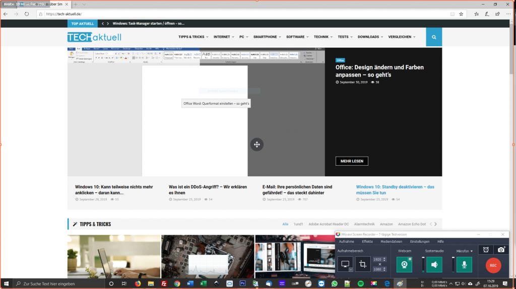 Movavi Screen Recorder 10 Benutzeroberfläche
