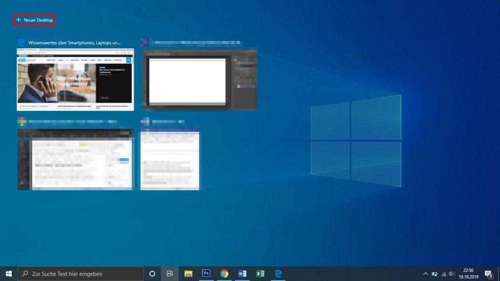 Neuen Virtuellen Desktop unter Windows 10 erstellen