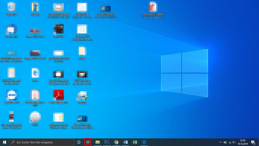 Taskübersicht öffnen um neuen Desktop zu erstellen