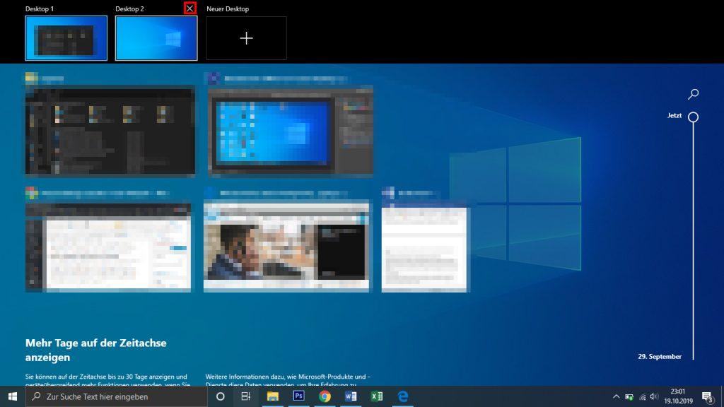 Virtuellen Desktop schließen - löschen - so geht´s