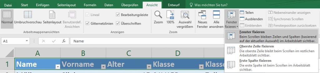 Excel: Oberste Zeile fixieren
